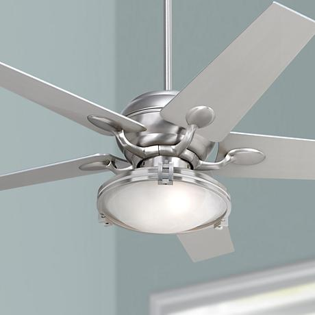 Casa Optima™ Brushed Steel Ceiling Fan with Light Kit