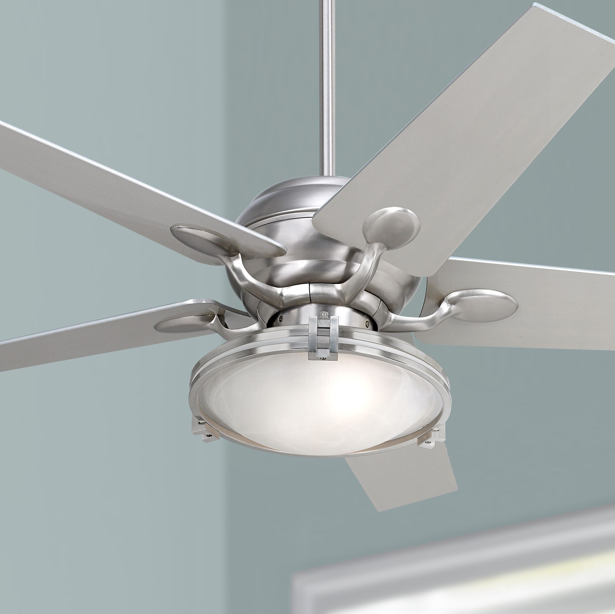 casa optima brushed steel ceiling fan with light kit