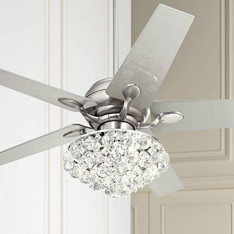 "52"" Casa Optima™ Brushed Steel Crystal Ceiling Fan"