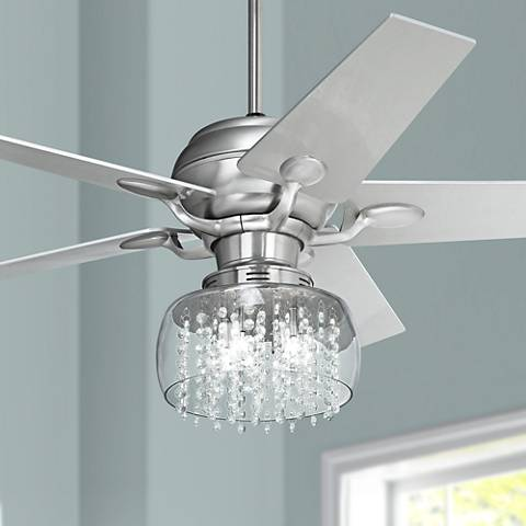 52 Quot Casa Optima Brushed Steel And Crystal Ceiling Fan