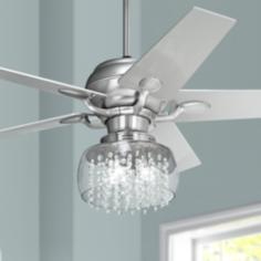 "52"" Casa Optima™ Brushed Steel and Crystal Ceiling Fan"