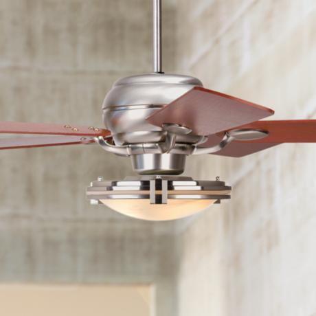 "52"" Casa Optima Brushed Steel Marble Glass Ceiling Fan"