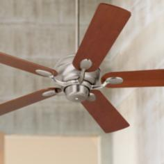 "52"" Casa Optima™ Brushed Steel Teak Blades Ceiling Fan"