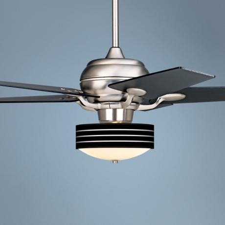 "52"" Casa Optima Brushed Steel Bold Black Stripe Ceiling Fan"