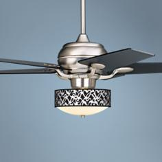 "52"" Casa Optima Brushed Steel White Ribbon Ceiling Fan"