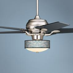 Casa Optima™ Ivory Blue Tapestry Black Blades Ceiling Fan
