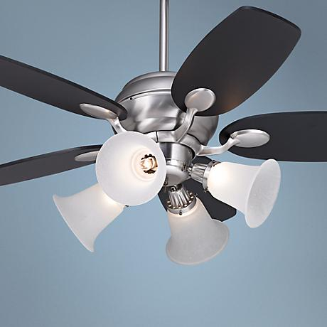 "43"" Casa Optima Brushed Steel Ceiling Fan with 4-Light Kit"
