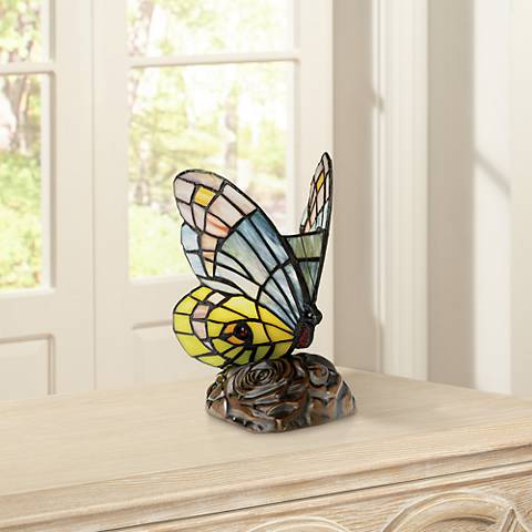 "Butterfly in Flight 7 1/2"" High Tiffany-Style Accent Lamp"