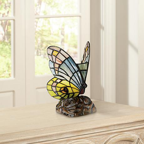 Green Purple Blue Butterfly Tiffany Style Accent Lamp