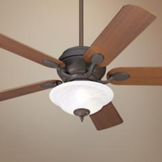 "52"" Casa Vieja® Black Rust White Glass Ceiling Fan"