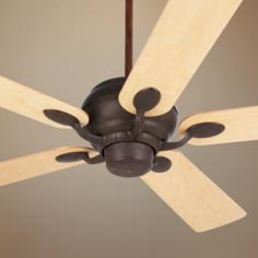 "52"" Casa Vieja Casa Optima Black Rust and Maple Ceiling Fan"