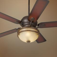 "52"" Casa Vieja® Black Rust Shaded Blades Ceiling Fan"