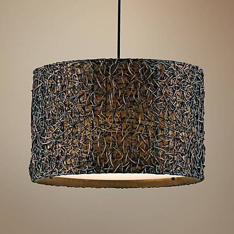 "Uttermost Naturo 19"" Wide Rattan Espresso 3-Light Pendant"
