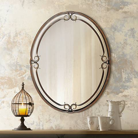 "Quoizel Small Oval Duchess 30"" High Wall Mirror"
