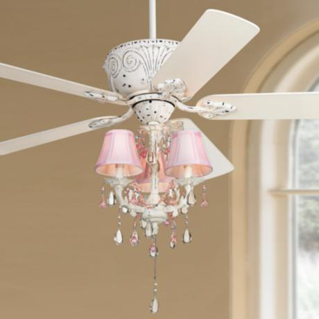 Casa deville pretty in pink pull chain ceiling fan 87534 45518 53567 lamps plus - Girl ceiling fans with chandelier ...