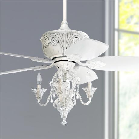 "43"" Casa Deville Antique White Ceiling Fan with Light #87534 45955 ..."