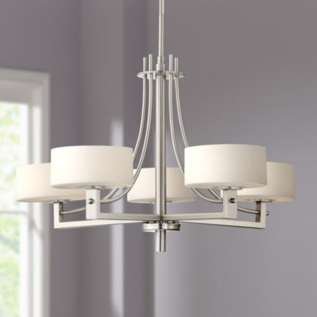 Possini Euro Frosted White Glass 5-Light Chandelier