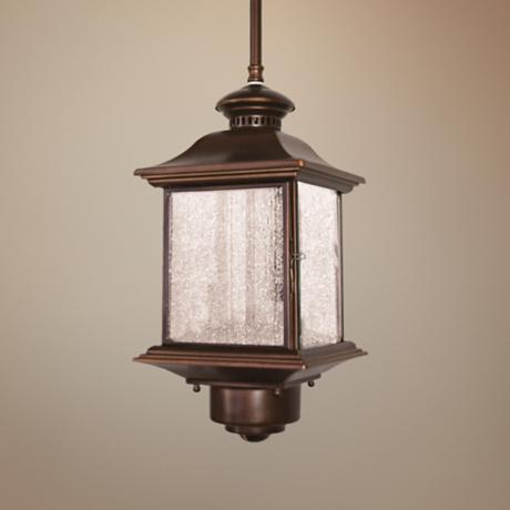 "Motion Sensor 14"" High Antique Bronze Outdoor Hanging Light"