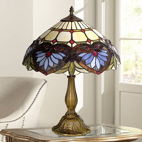 "Tiffany-Style Heart Pattern 22"" High Table Lamp"