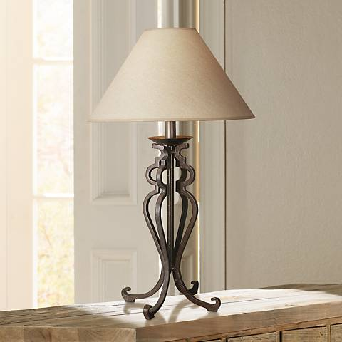 Open Scroll Rustic Wrought Iron Table Lamp