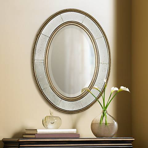"Uttermost Lara Oval Antique Silver 33"" High Wall Mirror"