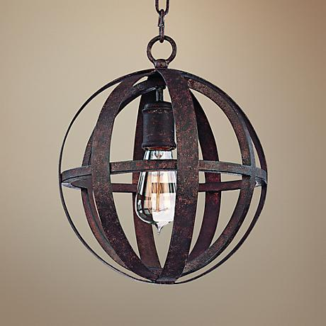 "Flatiron 10"" Wide Weathered Iron Orb Pendant Light"