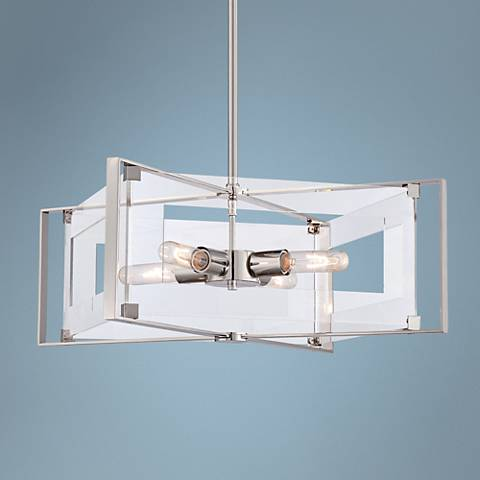 "Crystal Clear 19 3/4""W Polished Nickel 4-Light Pendant"