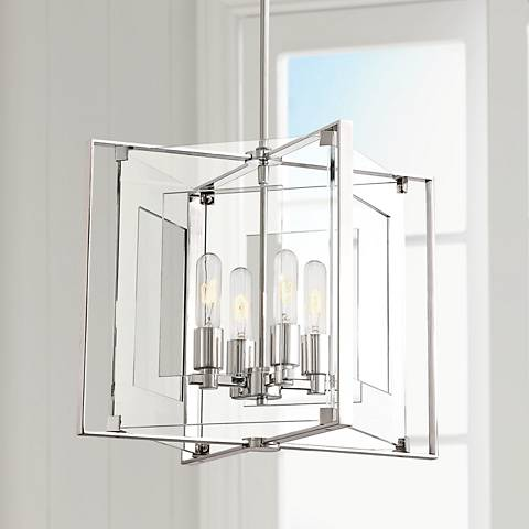 "Crystal Clear 14 3/4""W Polished Nickel 4-Light Pendant"
