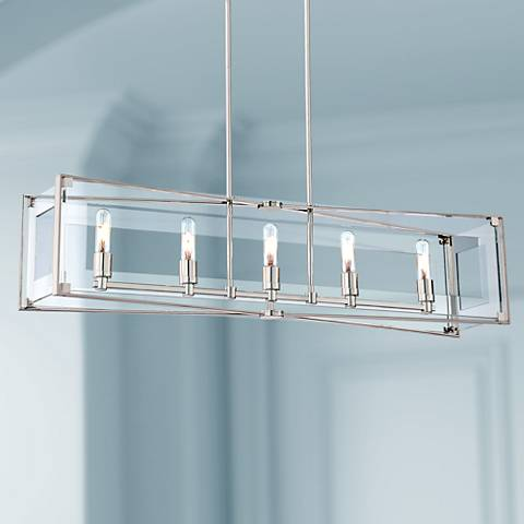 "Crystal Clear 43 1/4""W Polished Nickel Island Pendant"