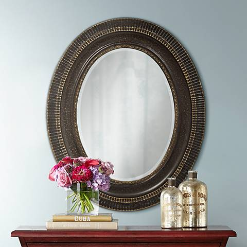 "Polini Dark Brown 27 3/4""x34"" Oval Wall Mirror"