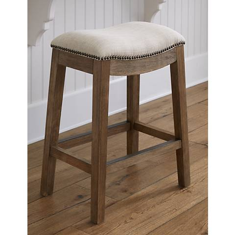 "Gaby 25 3/4"" Natural Wood Backless Counter Stool"