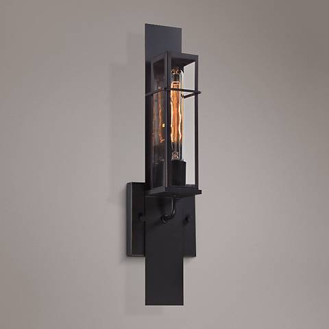 "Eurofase Muller 19""H Bronze Ripple Glass Outdoor Wall Light"