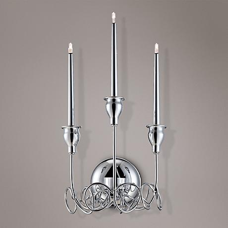 "Eurofase Candela 16 1/2"" High Chrome 3-Light Wall Sconce"