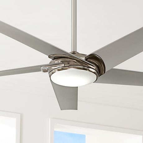 "60"" Minka Aire Raptor Brushed Nickel LED Ceiling Fan"