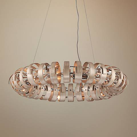 "Corbett Recoil 36"" Wide Textured Silver 12-Light Pendant"