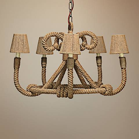 "Jamie Young Nautique Jute 30"" Wide 5-Light Chandelier"