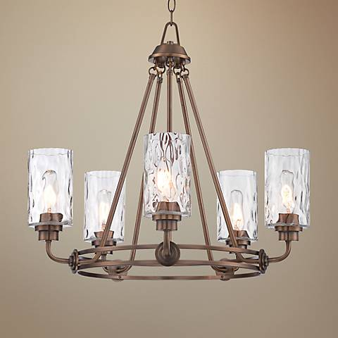 "Gramercy Park 26"" Wide Satin Brass 5-Light Chandelier"