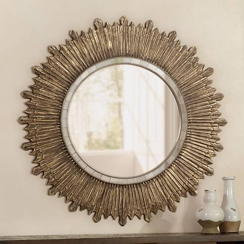 "Corisco Vintage Gold 45 3/4"" Wide Sunburst Wall Mirror"
