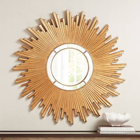 "Tanudo Sun Gold 45 1/2"" Wide Round Sunburst Wall Mirror"