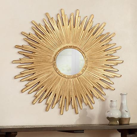 "Golden Sunrays 43"" Wide Round Wall Mirror"