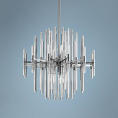 "Quebec 22"" Wide Satin Nickel Glass 6-Light Pendant"