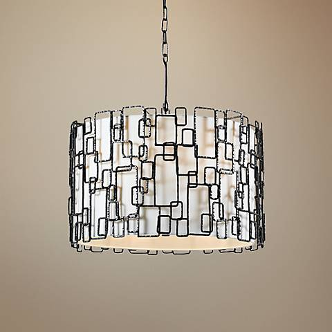 "Crystorama Lattice 23"" Wide Raw Steel 6-Light Pendant"