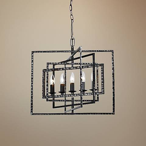 "Crystorama Capri 24""W Raw Steel 5-Light Pendant"