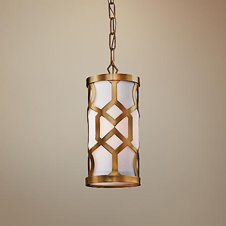 "Crystorama Jennings 6 1/4"" Wide Aged Brass Mini Pendant"