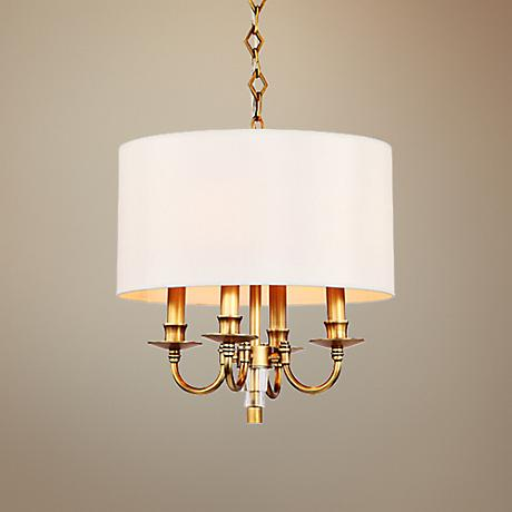 "Crystorama Lawson 15"" Wide Aged Brass 5-Light Pendant"