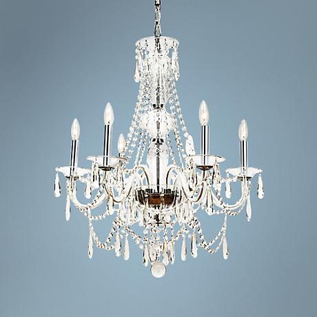 "Crystorama Barrymore 26 1/4""W Chrome 6-Light Chandelier"