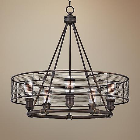 "Eurofase Terra 26"" Wide Bronze 5-Light Pendant"
