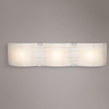 "Elan Undulla 26"" Wide 3-Light Wheel-Cut Glass Bath Light"