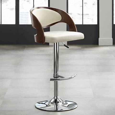 Malibu Cream Faux Leather Adjustable Swivel Barstool