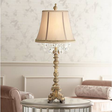 Duval Gold Crystal Table Lamp with Two Tone Braid Trim
